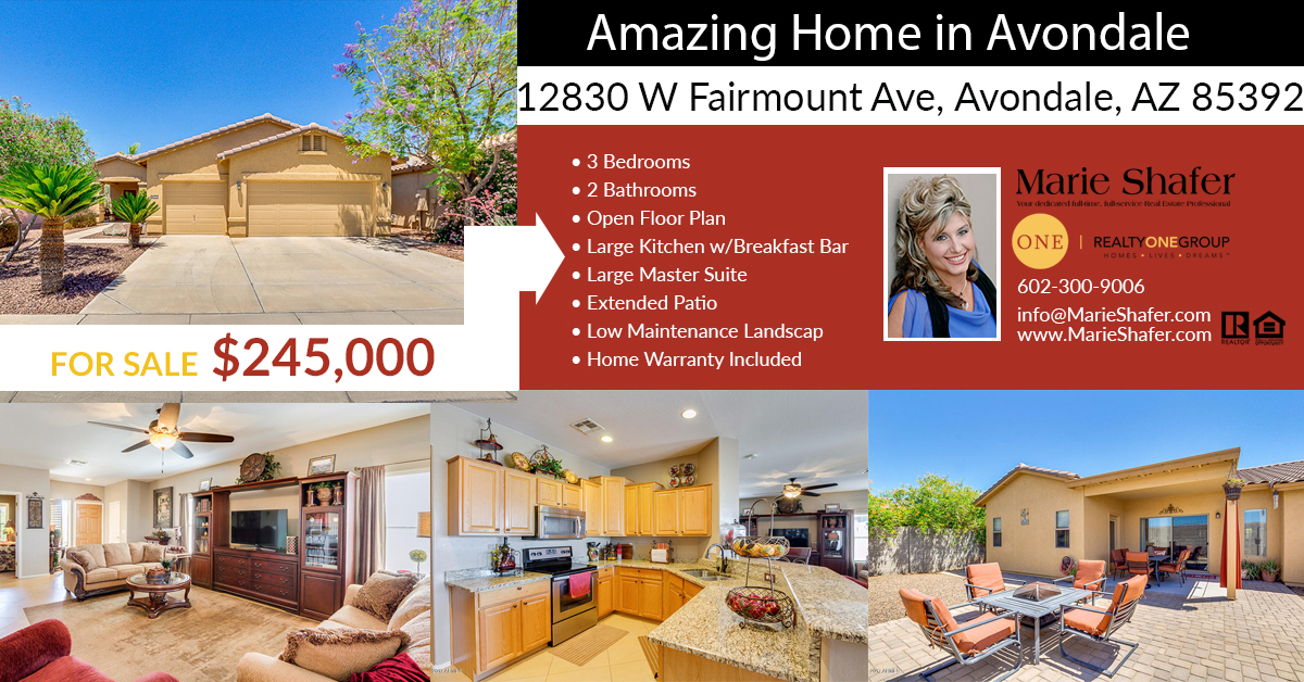 Home For Sale 12830 W Fairmount Ave Avondale Az 85392
